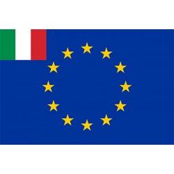 Bandiera Europa + Italia in tessuto stamina di poliestere 100 %
