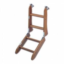 Scaletta in legno pieghevole con ganci di sicurezza compresi