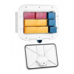 Cassettiera bianca a scomparti per accessori con serratura