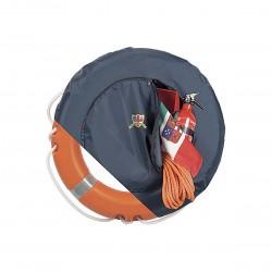Contenitore per salvagente anulare e borsa integrata con cerniera